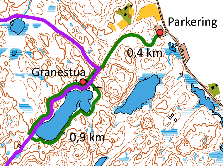 Skiløypa rundt Kalstadtjenna, samt løypa fra parkering og inn til Granestua, er marker med grønt på kartet over.